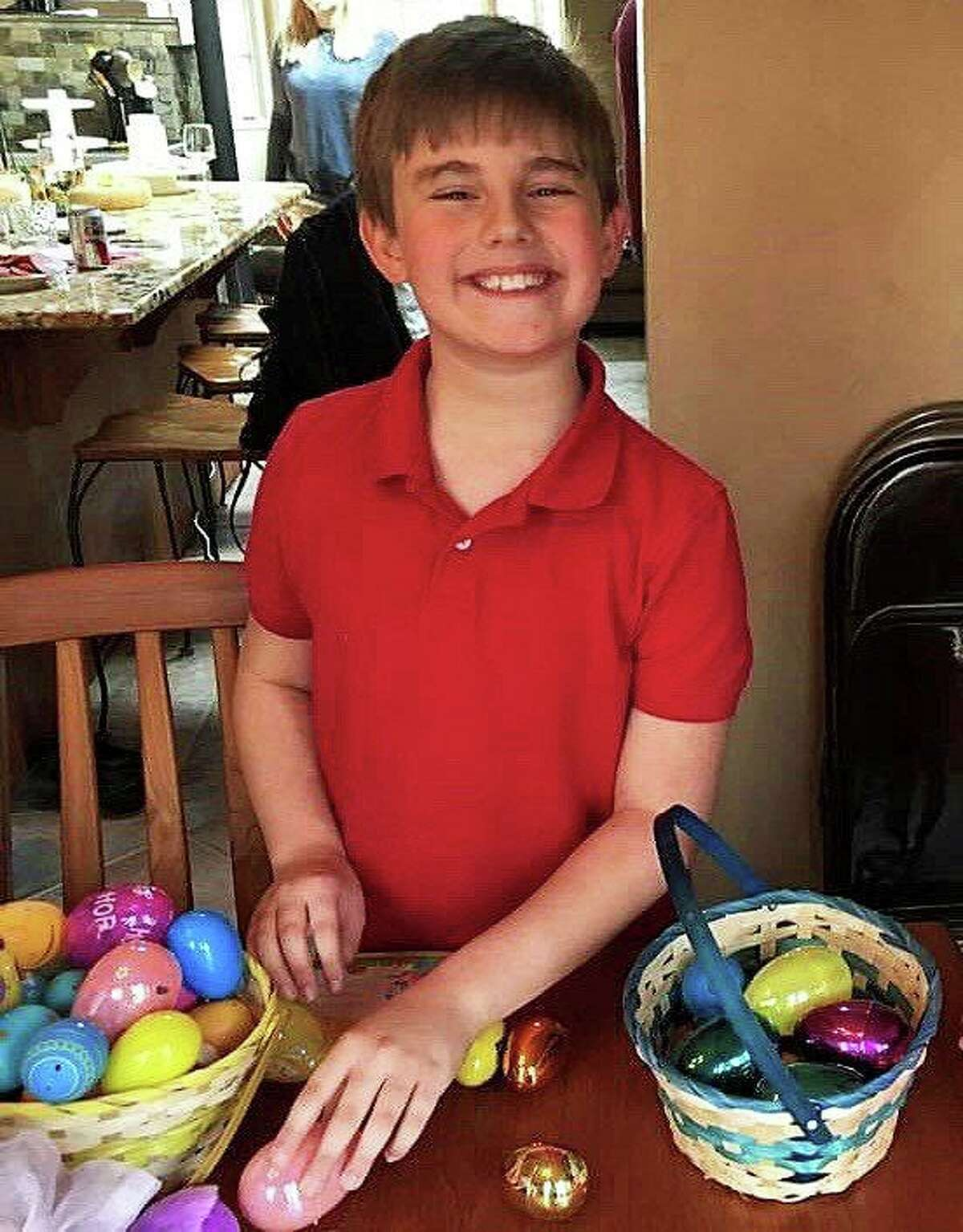 Vinnie Penn's son, Luke, with his haul from an Easter Egg Hunt.