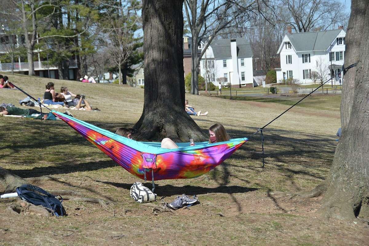 Wesleyan University students enjoyed the warm weather last week during spring break in Middletown.