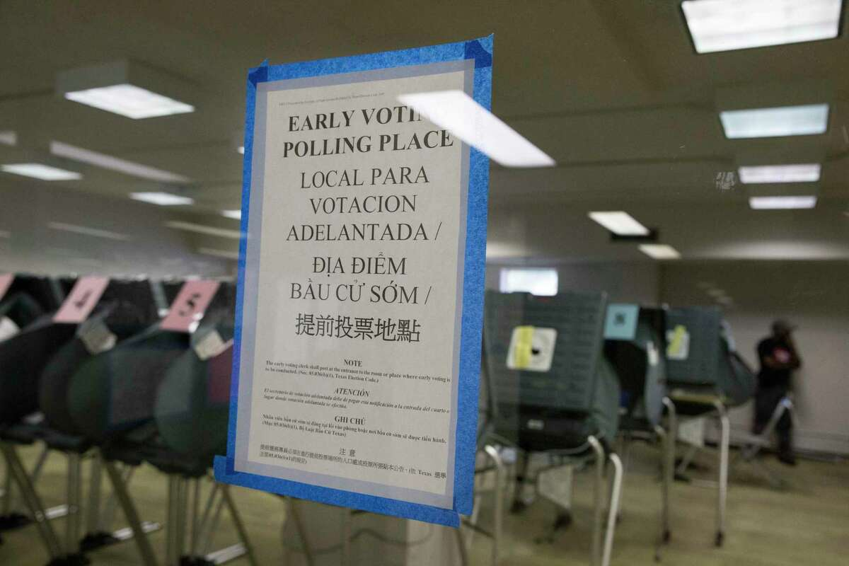 The Texas Southern University early voting location is slow for the morning on Monday, Oct. 21, 2019, in Houston. Early voting began Monday ahead of the November 5 election, when Houston and Harris County voters will cast ballots for mayor, city council, controller and a host of referendums and other offices.