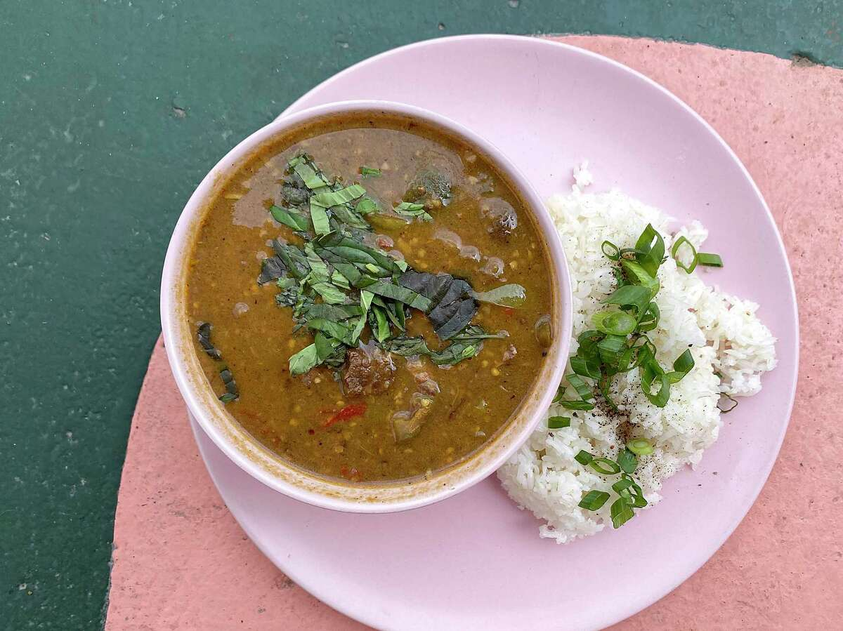 Somlaw machu kroeung is a lemongrass beef soup with tripe, Thai eggplant and long beans at Golden Wat Noodle House.