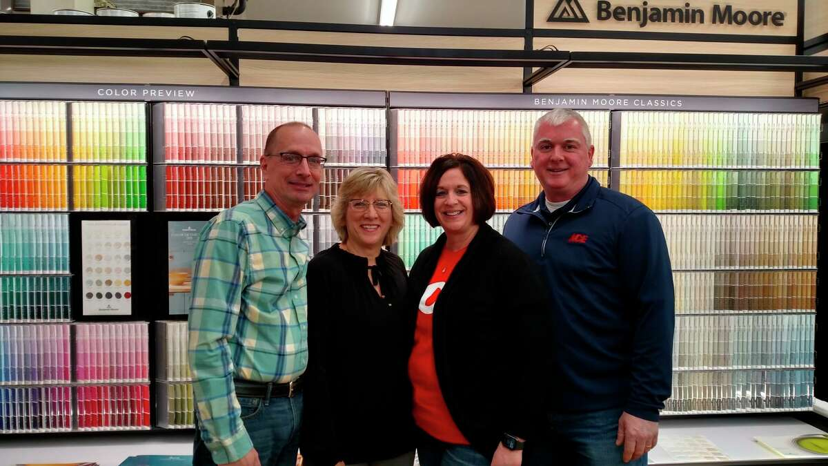 Brad and Ann Buss have turned over the keys of their family hardware toLaura and Brad Polega, who now own and operate Ace Hardware-Bad Axe in addition to Sebewaing Ace Hardware. (Courtesy Photo)