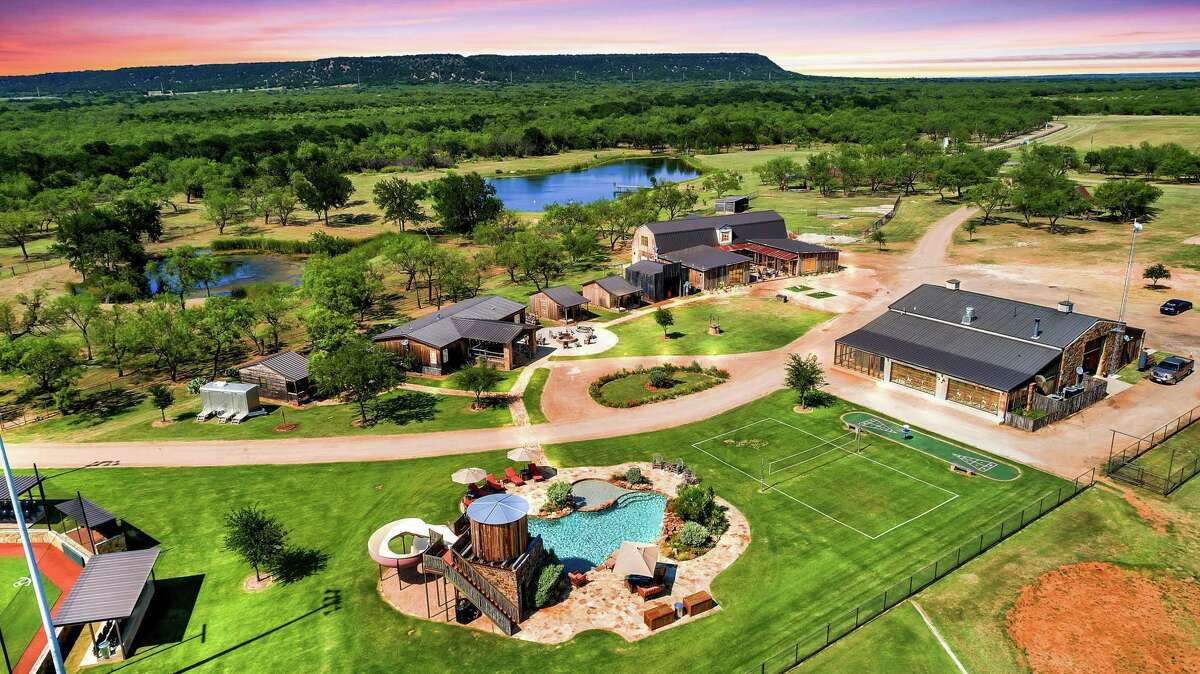 Surrounded by the Palo Pinto Mountains about an hour west of Fort Worth, Rocker B Ranch is more like a sports paradise with features that include three baseball fields, a driving range and a basketball and tennis court. The 320-acre ranch is available for rental through Explore Ranches for $5,500 a night.
