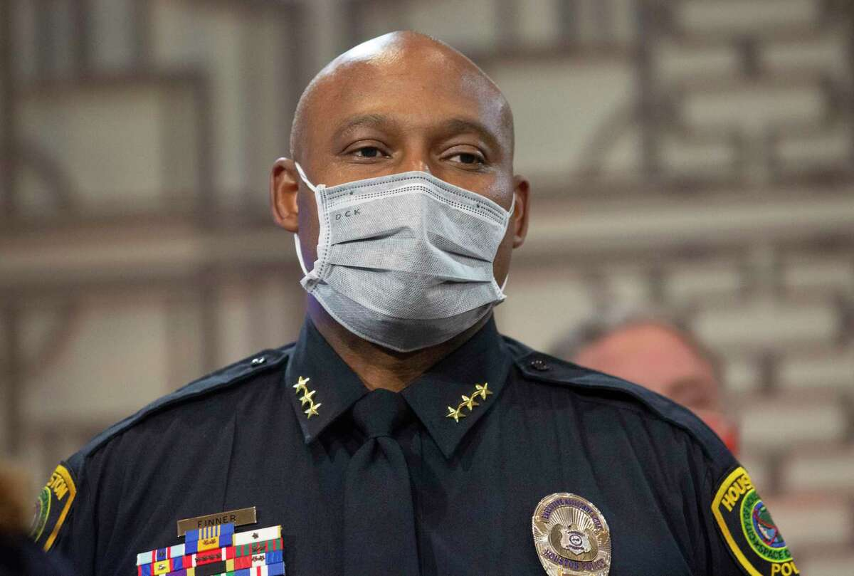Houston Mayor Sylvester Turner announces he has selected Houston Police Department Executive Assistant Chief Troy Finner to replace Chief Art Acevedo during a press conference Thursday, March 18, 2021, at Houston City Hall in Houston.