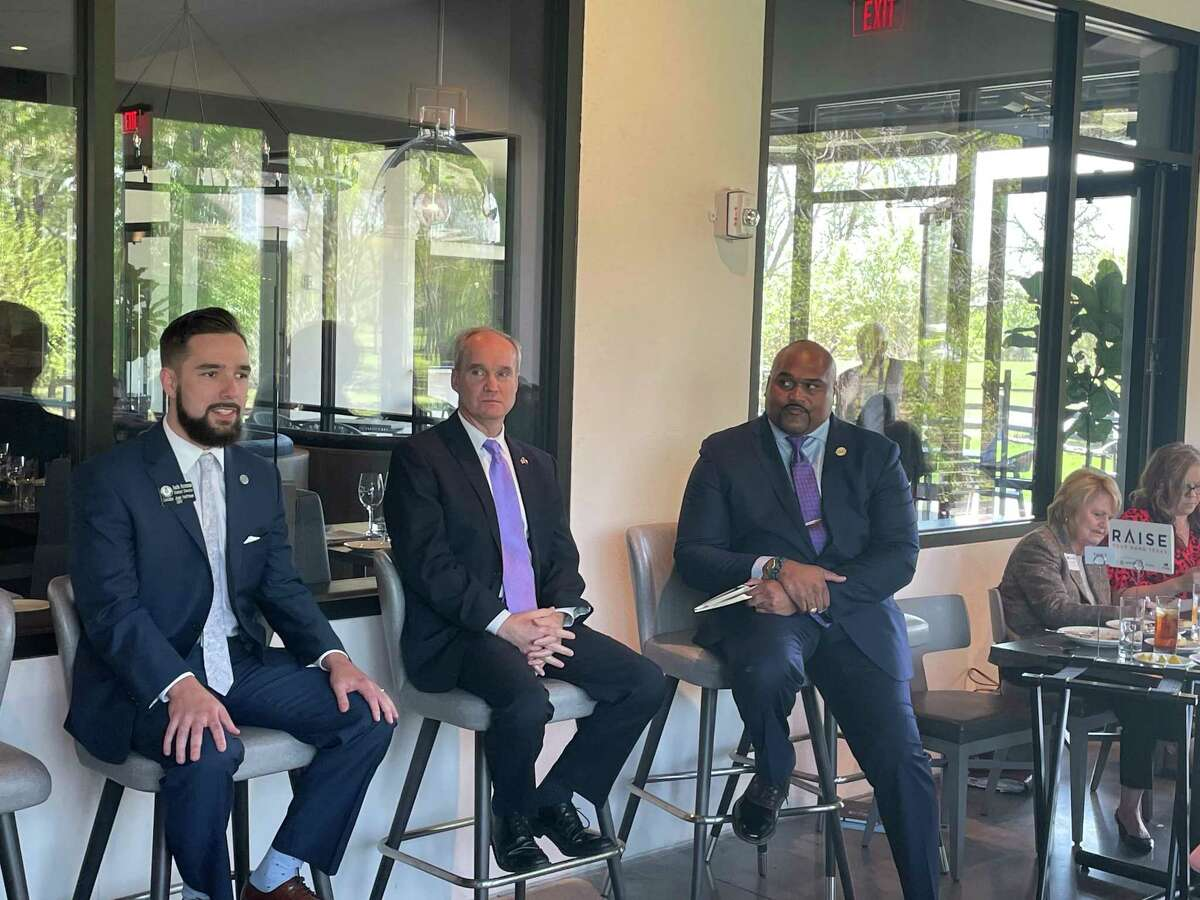 Austin Arceneaux, State Rep. Mike Schofield and Dr. Robert Long discuss new proposed legislation for the 87th legislative session on March 26, 2021.