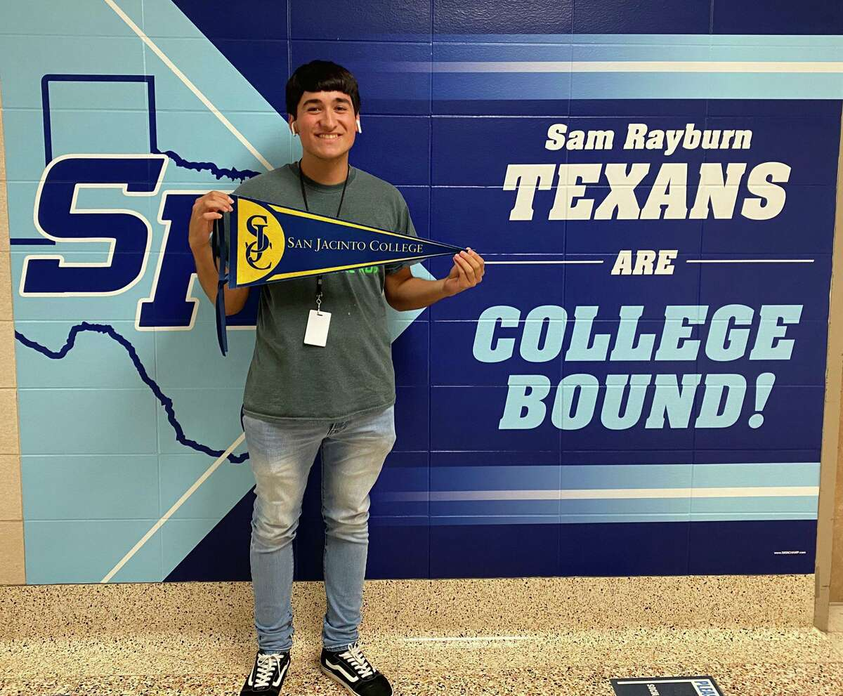 Sam Rayburn High School senior Luis De Los Santos celebrates his acceptance to San Jacinto College as part of the Harris County Promise at San Jac initiative. The program helps graduating seniors at three Pasadena ISD high schools pay for college tuition while they earn their associate degrees.