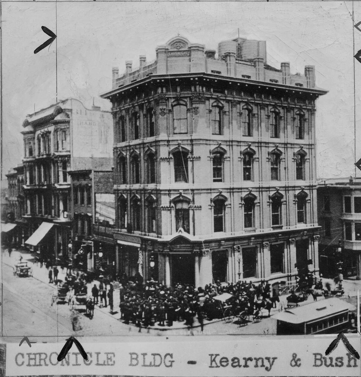 Charles de Young was fatally shot in the old Chronicle building at Kearny and Bush streets.