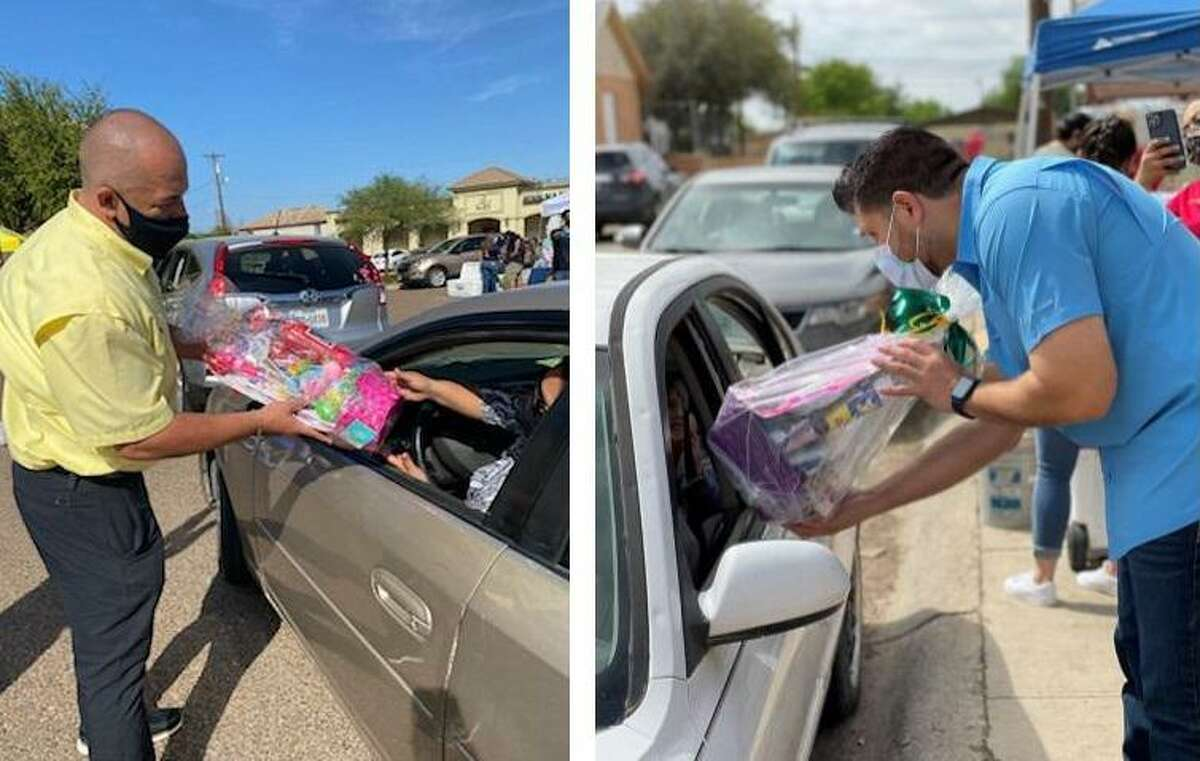Precinct 2 Place 1 Justice of the Peace Bobby Quintana, Precinct 1 Commissioner Jesse Gonzalez along other leaders in south Laredo celebrated Easter with a basket giveaway in various drive-thru events.