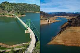 LAKE OROVILLE: An aerial view of the Bidwell Bar Bridge at Lake Oroville (left) at 83 percent of capacity or 104 percent of historical average in 2017, and in 2021 (right) at 53% of historical average and 41% of capacity.