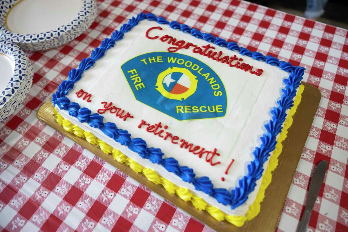 As seen, a custom cake lays on a table during a retirement party in honor of Deputy Fire Chief Jerry Bittner at the Woodlands Fire Department Administration and Station 1, Wednesday, March 31, 2021, in The Woodlands. Bittner served with the fire department for over 40 years before retiring.