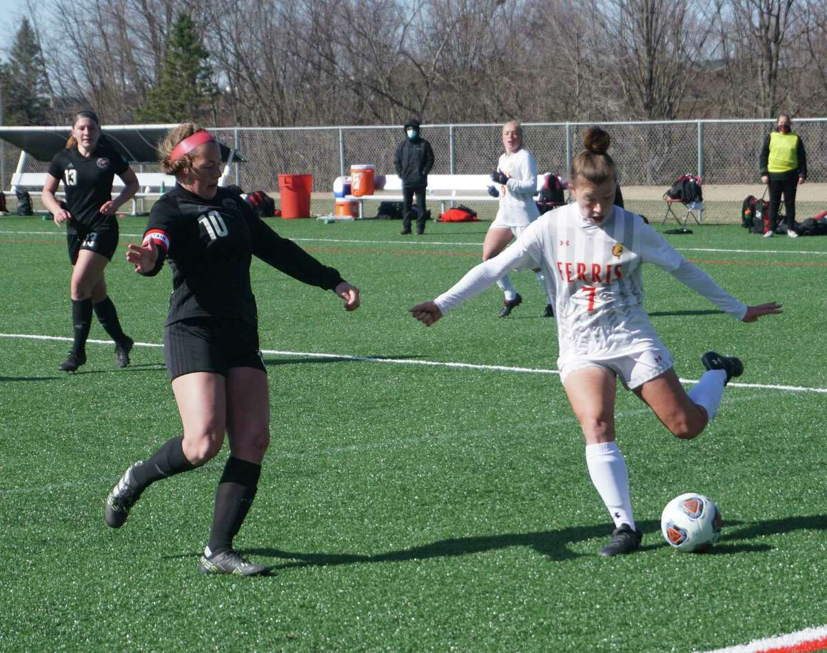 Ferris State junior Pia Nagel lines up a pass in the defensive box during the Bulldogs' 3-0 win over Davenport on Thursday. (Pioneer photo/Joe Judd)