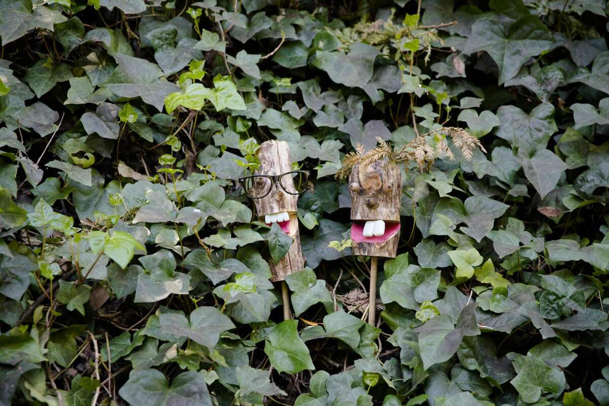 Frank and Filbert, two of the trolls along the Bridgeview Trail, on March 31, 2021, in Oakland, Calif.