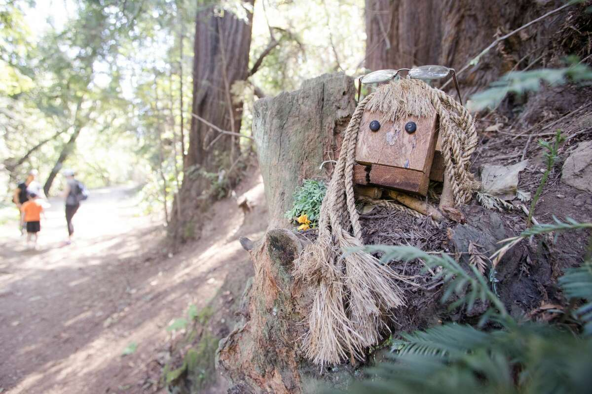 Bebe, one of the trolls along the Bridgeview Trail on March 31, 2021, in Oakland, Calif. A trio of anonymous local artists has installed a hilarious collection of wooden sculptures called