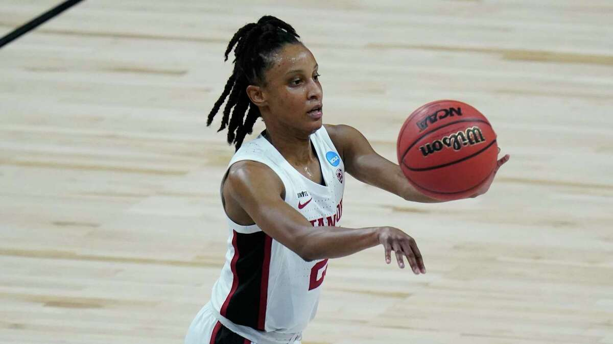 Stanford guard Kiana Williams (23) during the first half of a college basketball game against Louisville in the Elite Eight round of the women's NCAA tournament at the Alamodome in San Antonio, Tuesday, March 30, 2021. (AP Photo/Eric Gay)