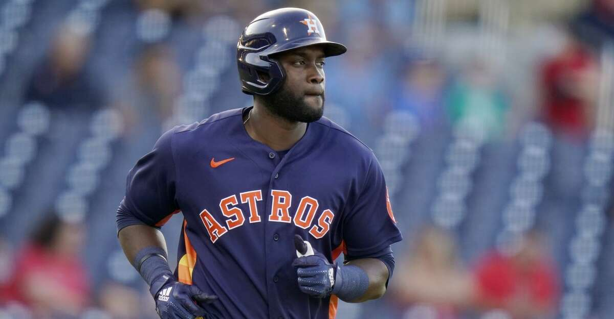 Houston Astros' Yordan Alvarez draws a walk during the third inning of a spring training baseball game against the St. Louis Cardinals, Thursday, March 25, 2021, in West Palm Beach, Fla. (AP Photo/Lynne Sladky)