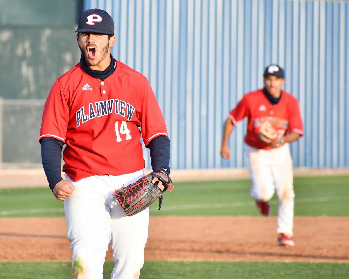 Plainview's Isaac Garza reacts after getting the game-ending strikeout in the Bulldogs' 9-5 win over Amarillo in a District 3-5A baseball game on Thursday at Bulldog Park.