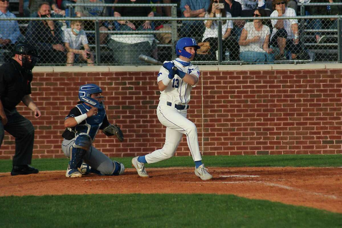 Friendswood's Kevin Newkirk (13) drove in two runs as the Mustangs improved to 18-0 with a 12-0 win over Goose Creek Memorial Thursday.