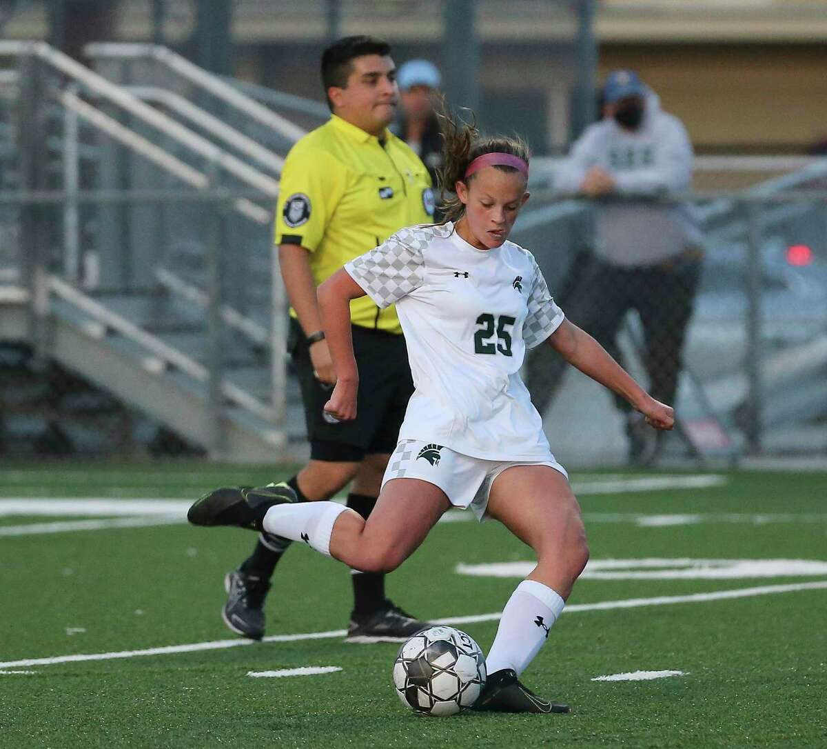 Stratford Spartans forward Rileigh Toner takes a free kick and scores during the second half of the conference 6A regional quarterfinal match against Memorial Mustangs Thursday, April 1, 2021, at Spring Woods High School in Houston.