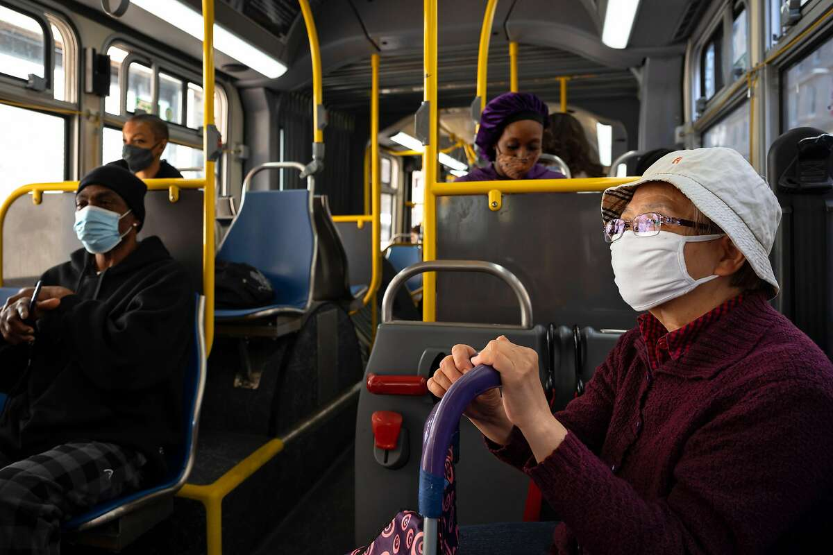 Zu Hue Fang takes the 38-Geary bus to shop for groceries. Two supervisors are promoting a plan to use one-time funds to make Muni rides free this summer.