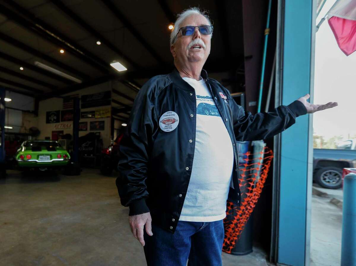 Bruce Carter, a founding member of The Woodlands Car Club, talks about the first time he drove a Corvette, Thursday, April 1, 2021, in Spring. The club is celebrating its 20th anniversary this year.