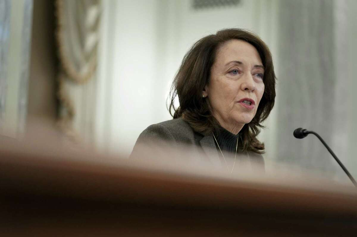 """""""What we do next has to be done right, otherwise we could be in a situation where those who are currently lacking service could, after more spending, continue to lack service,"""" Sen. Maria Cantwell says of the Biden administration's $100 billion to extend broadband networks to all U.S. households, Cantwell is photographed on Capitol Hill in Washington, D.C., on Jan. 21, 2021."""