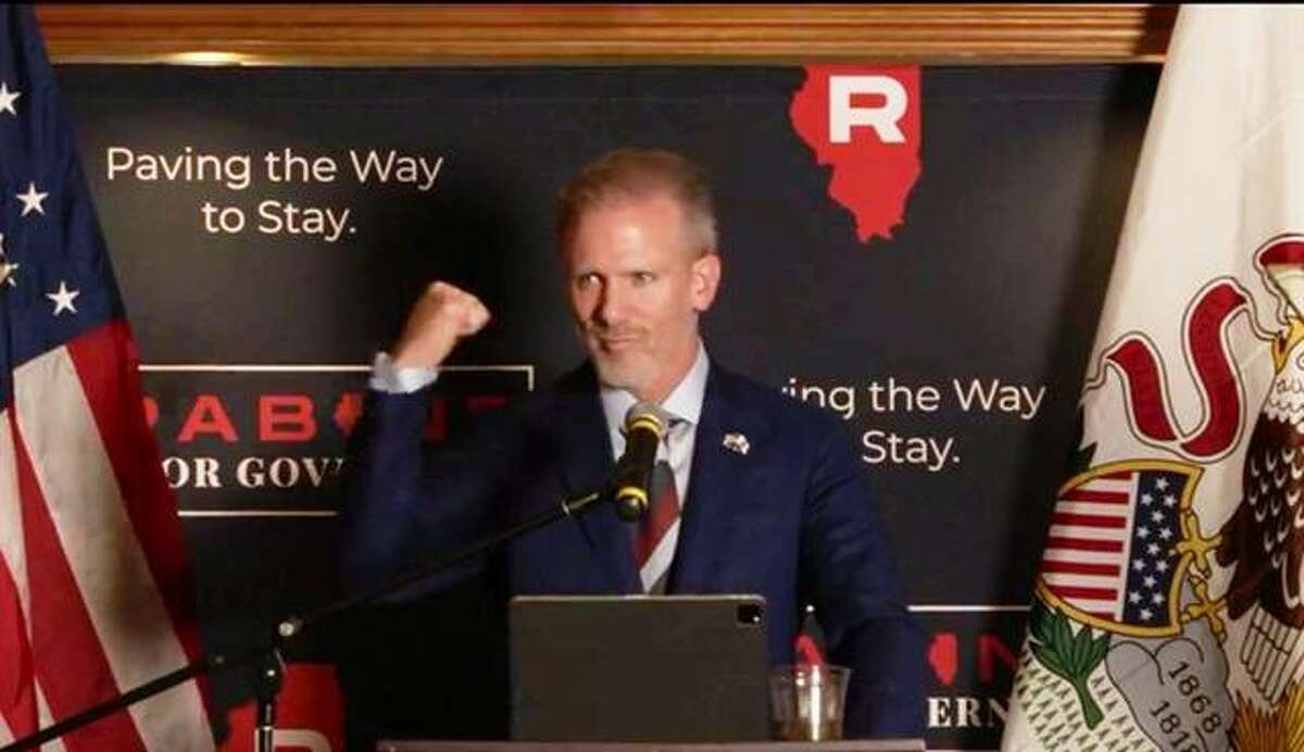 Businessman Gary Rabine announces his candidacy for governor at Bull Valley Golf Club in Woodstock Tuesday. Rabine is the third candidate to announce he will seek the Republican nomination for Governor in 2022.