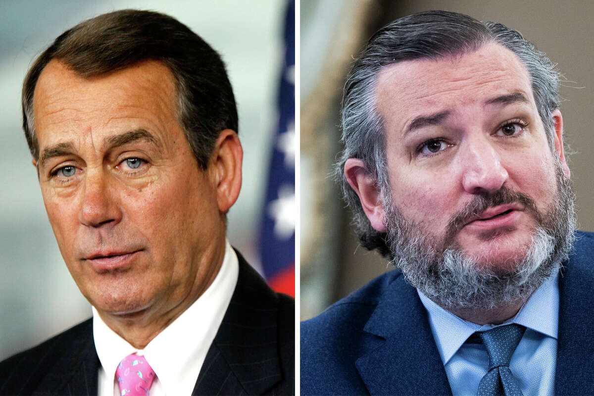 Ex-Speaker John Boehner and Sen. Ted Cruz, R-Texas, are pictured together in this composite photo.
