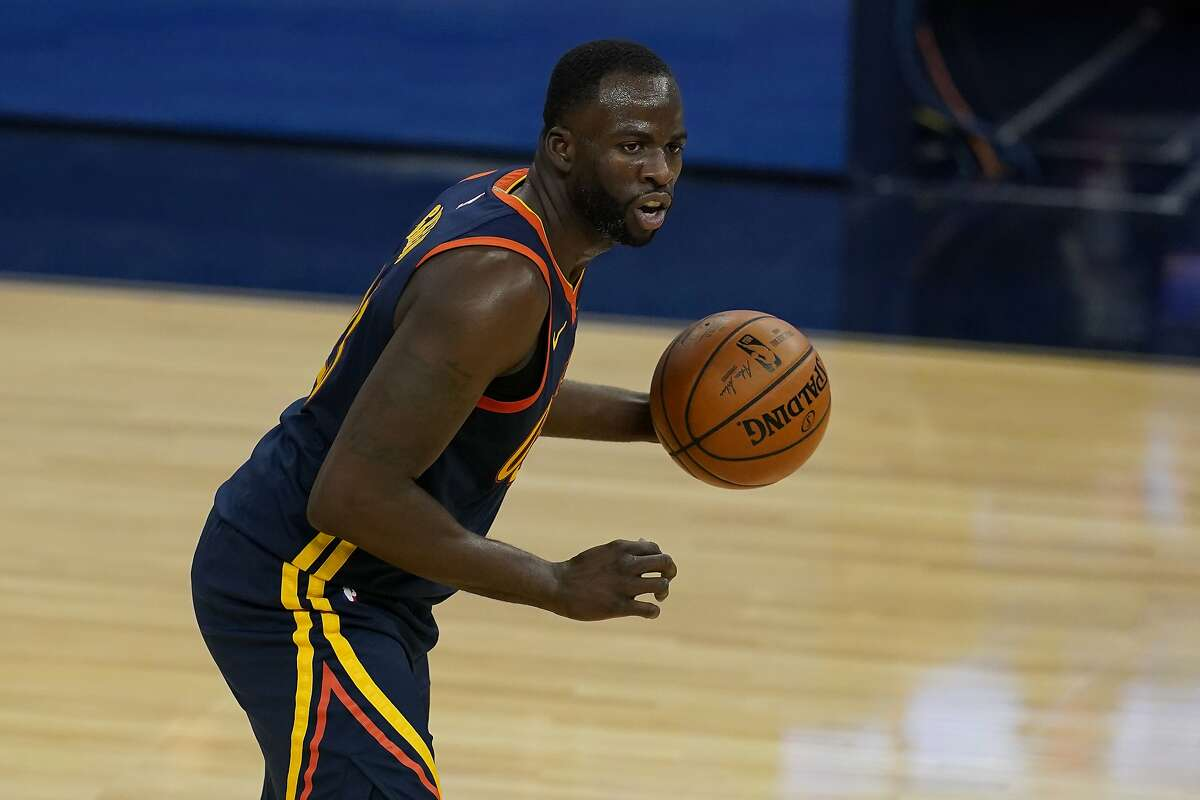 Golden State Warriors forward Draymond Green against the Philadelphia 76ers during an NBA basketball game in San Francisco, Tuesday, March 23, 2021. (AP Photo/Jeff Chiu)