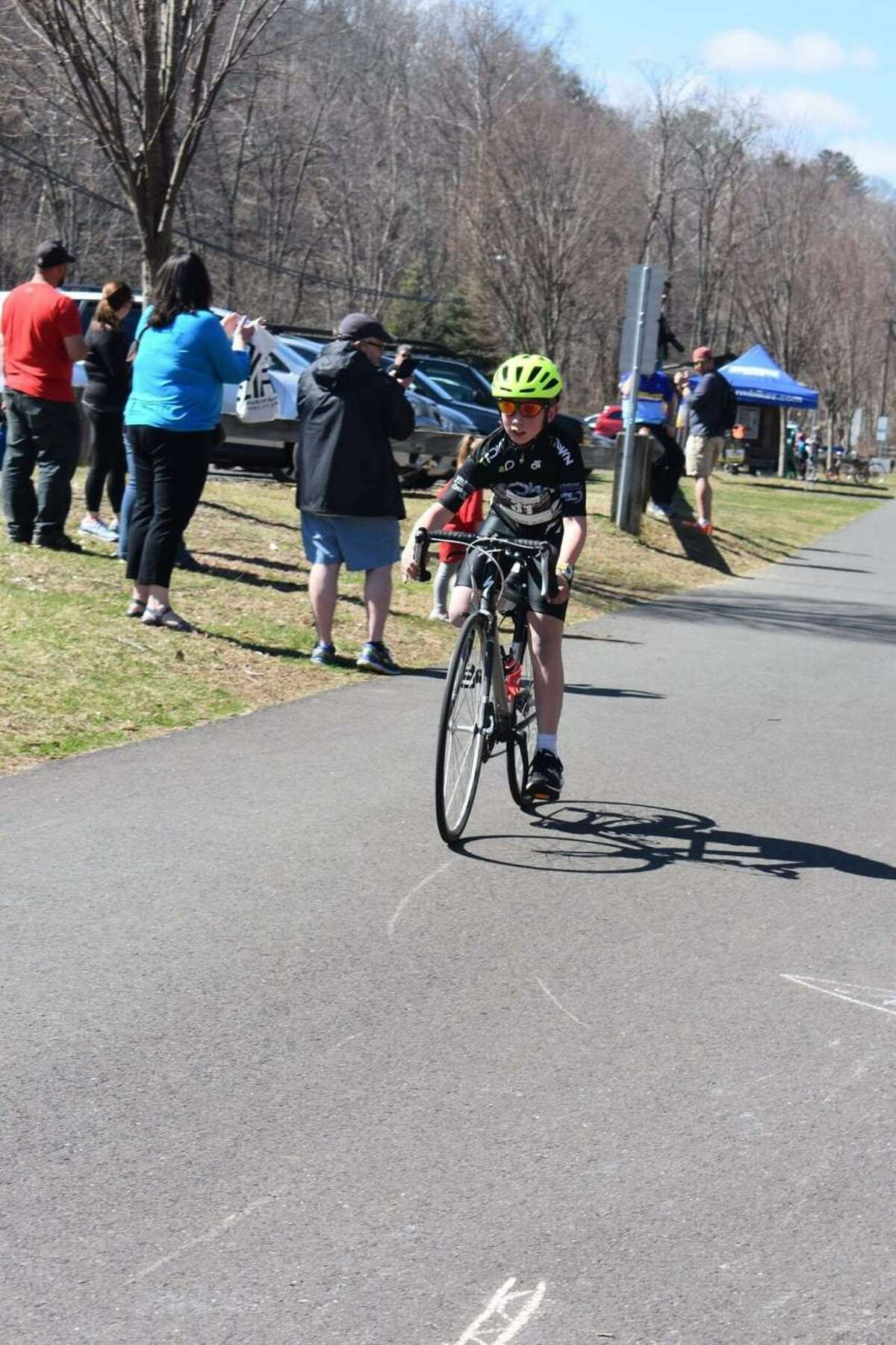 Colton is competing in a bike race.