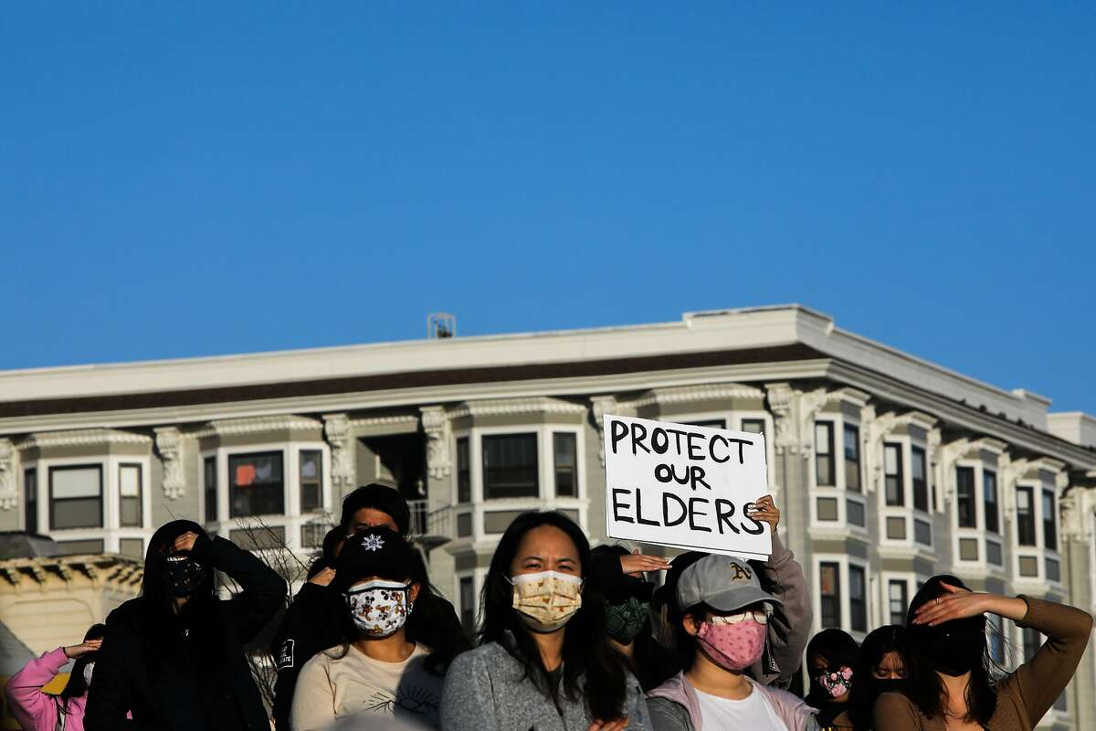 Hundreds gather at Madison Park in Oakland last month in memory of the eight victims killed in a mass shooting near Atlanta, one of many recent attacks across the nation targeting Asians.