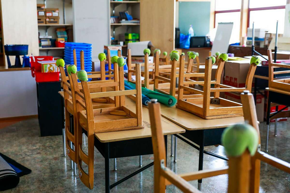 A Sankofa Academy classroom sits empty on Aug. 10, the first day of the school year in Oakland. The reopening effort has hit snags in negotiations.