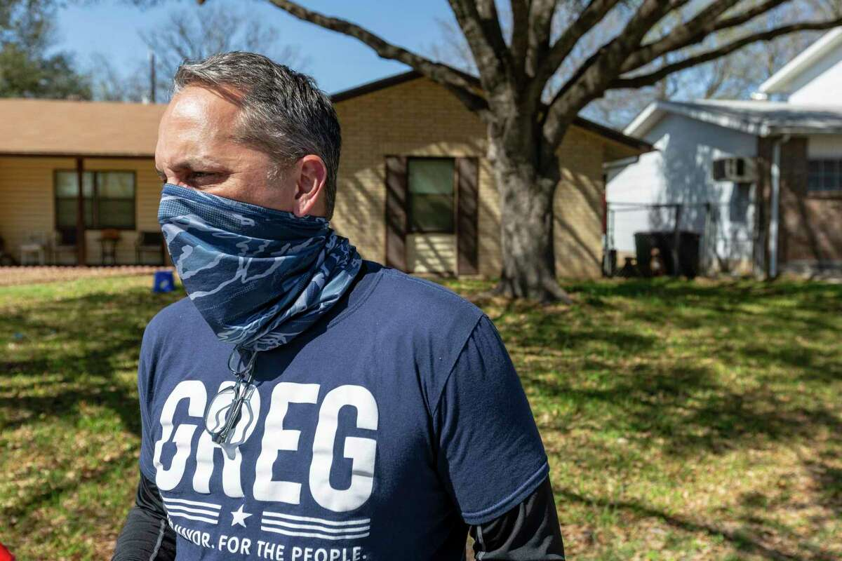 San Antonio mayoral candidate and former City Council member Greg Brockhouse walks through an East Side neighborhood to make his pitch to prospective voters March 17. Brockhouse lost his previous run for mayor in 2019 to Ron Nirenberg in a bitter runoff election.
