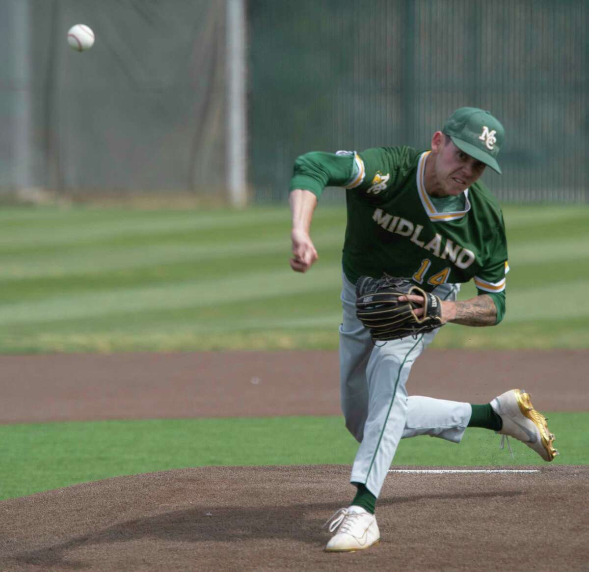 Midland College starting pitcher Bo Blessie delivers a throw in the first game of a double header against NMMI 04/02/21 at Christensen Stadium. Tim Fischer/Reporter-Telegram