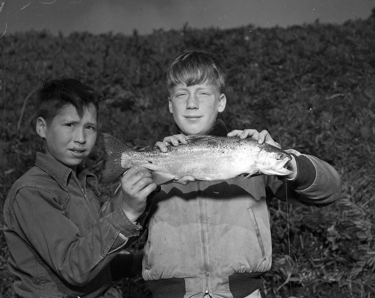 Trout fishing on Opening Day at Lake Merced, May 13, 1952