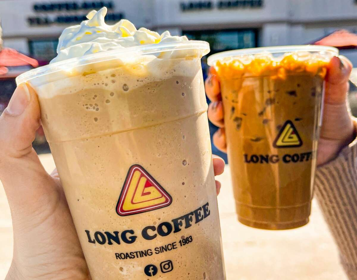 Long Coffee on Bellaire Boulevard offers both the standard cafe sua da and the cafe sua nong, a combination of espresso, steamed milk and condensed milk.