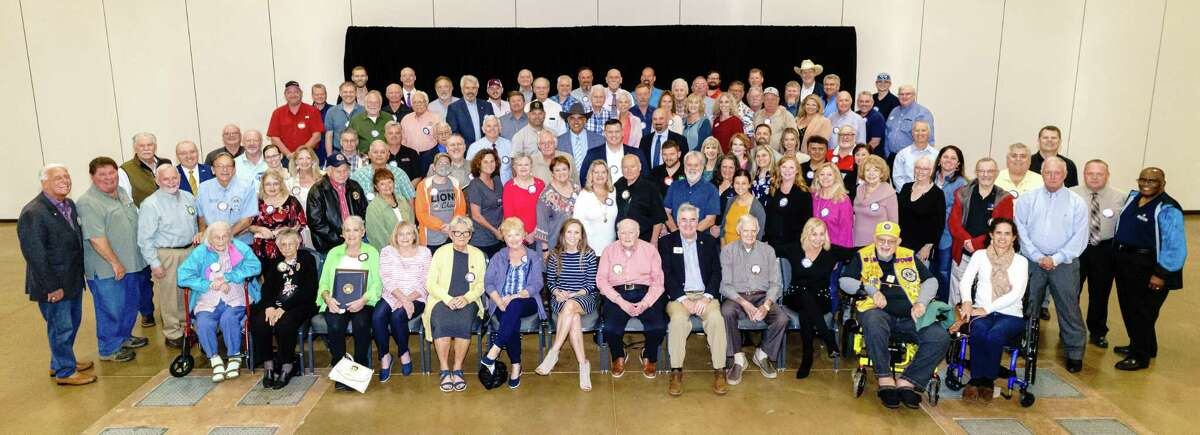 Approximately half the 303 members of the Conroe Noon Lions Club gathered during the weekly Wednesday luncheon last week calling it Celebrate CNLC; there life members were honored, Past Presidents recognized and memories of the clubs 80+ years were reminisced.