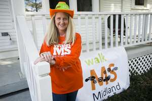 Helen Myers poses for a portrait Thursday, April 1, 2021 at her home in Sanford. Myers was first diagnosed with Multiple Sclerosis in 2004, and now uses her story and voice to raise awareness locally and raise money for treatment research. (Katy Kildee/kkildee@mdn.net)