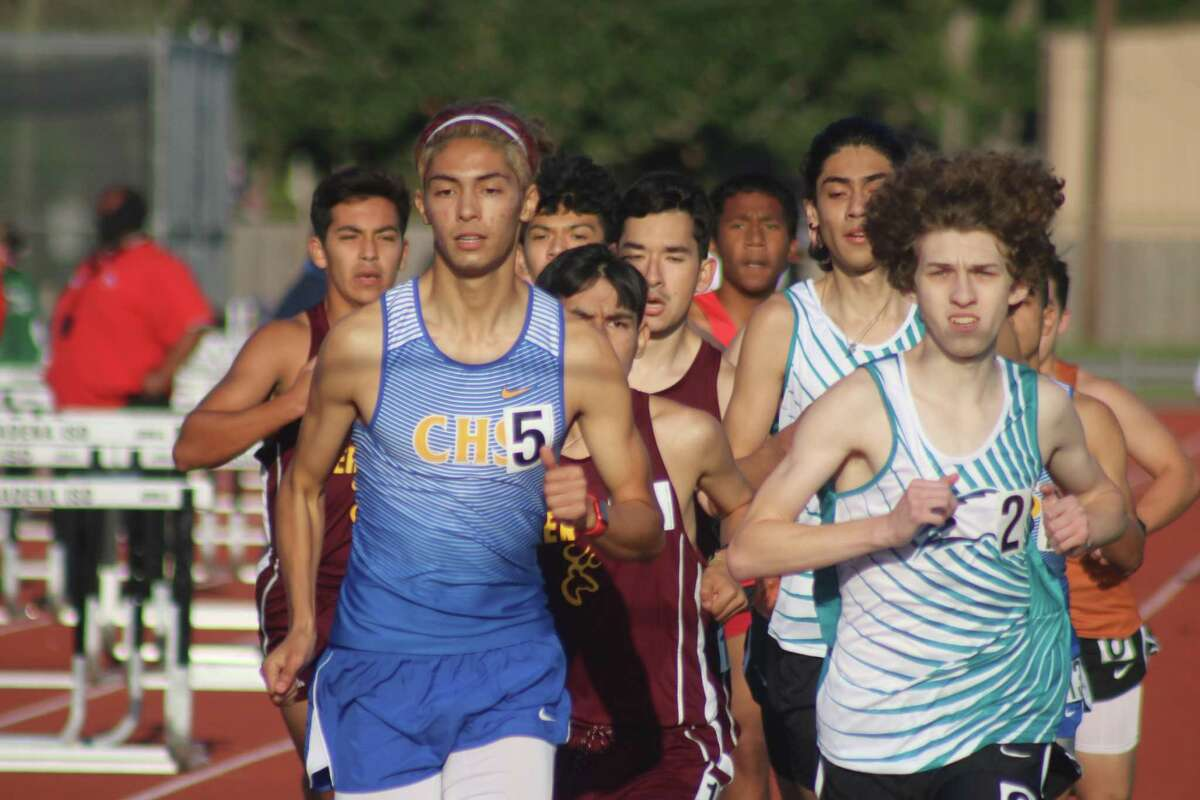 Pasadena Memorial's Gavin Erskins is shoulder to shoulder with eventual district champion Ethan Varvelo of Channelview during the 800-meter race. Erskins finished second to Varvelo by less than two seconds.