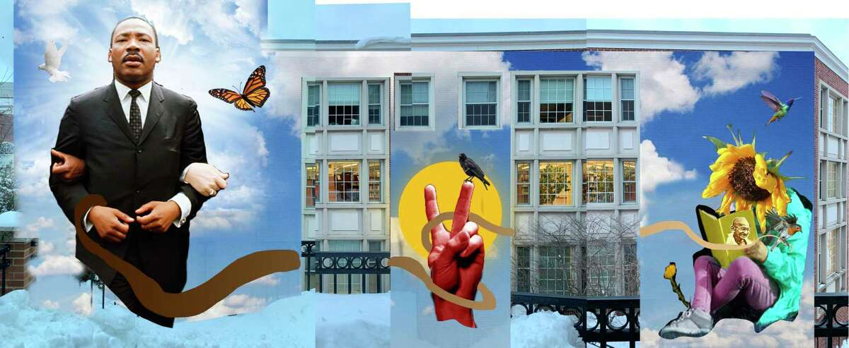 A sketch of the mural that's expected to be on Noah Webster Library in West Hartford.