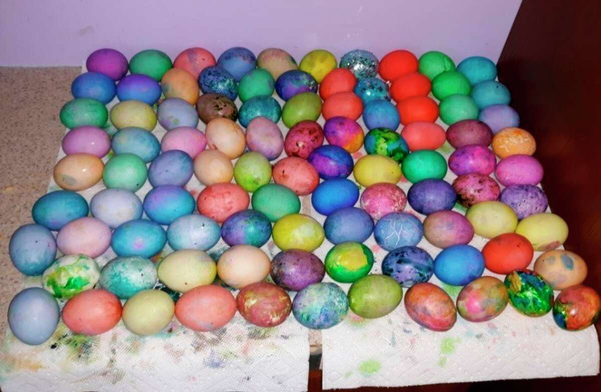 Family members enjoyed getting together and had a ball coloring hard boiled eggs for Easter. (Courtesy photo)