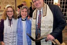 Congregation Shir Shalom of Westchester and Fairfield Counties (46 Peaceable St., Ridgefield) will host its annual Yom HaShoah Holocaust Memorial Observance online with congregations from the Federation for Jewish Philanthropy of Upper Fairfield County, beginning April 7, at 7:30 p.m. On April 8, at 7 p.m., Shir Shalom will join with St. Stephen's Episcopal Church (351 Main St., Ridgefield) in a community interfaith ceremony for Yom HaShoah. The Rev. Whitney Altopp, center, of St. Stephen's Episcopal Church is flanked by Cantor Deborah Katchko-Gray, left, and Rabbi David Reiner, right, of Congregation Shir Shalom. The three form the leadership of the Ridgefield Clergy Association.