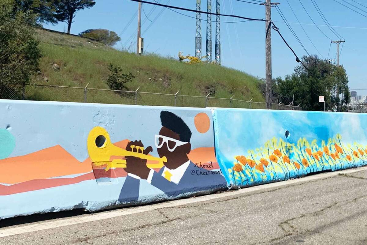 New murals line Evans Avenue and Hunters Point Boulevard in Bayview-Hunters Point.