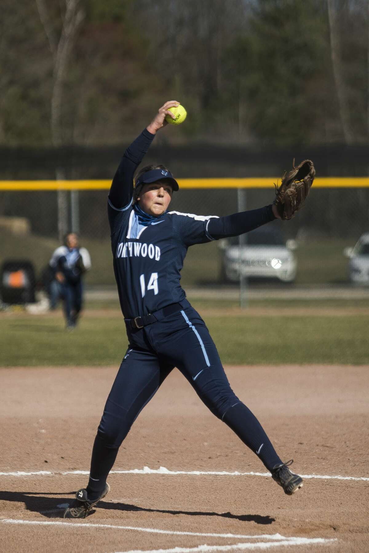 Northwood's Taylor Wright pitches the ball during the Timberwolves' doubleheader against Wayne State Friday, April 2, 2021 at Northwood University. (Katy Kildee/kkildee@mdn.net)