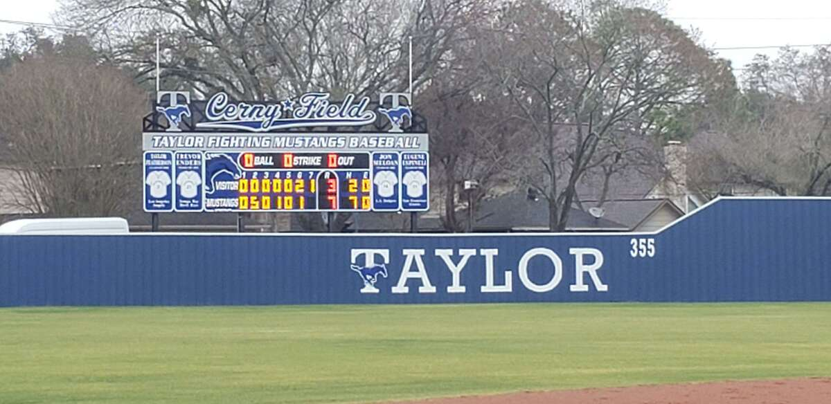 The Cerny Field scoreboard shows the final from a Katy Taylor baseball victory earlier in the 2021 season. The Mustangs earned one of their biggest wins of the season, downing state-ranked Tompkins to split the District 19-6A series.