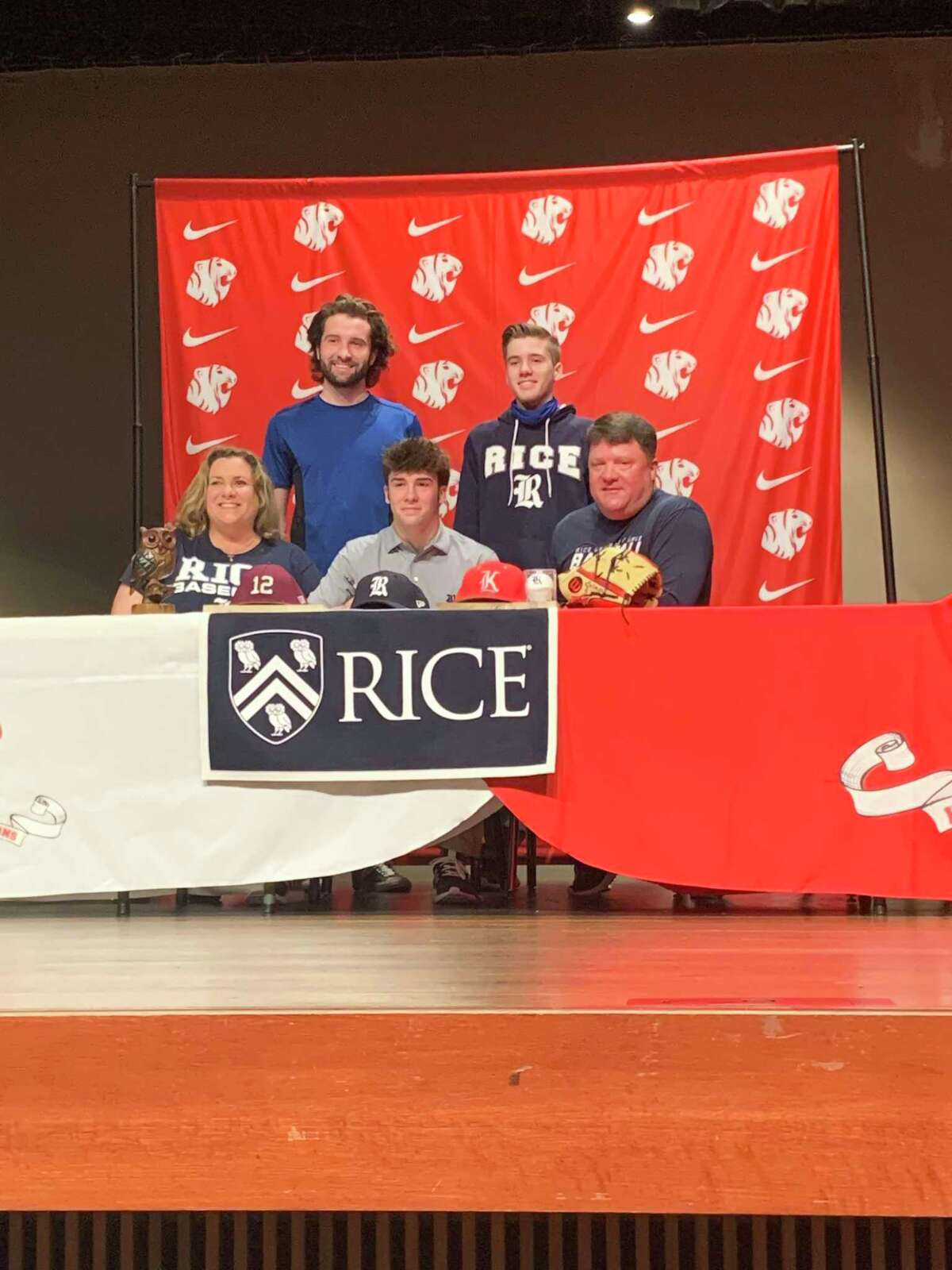 Katy senior Caleb Matthews, who signed with Rice University in February, struck out eight in 5 2/3 innings against Tompkins to keep the Tigers unbeaten in District 19-6A.
