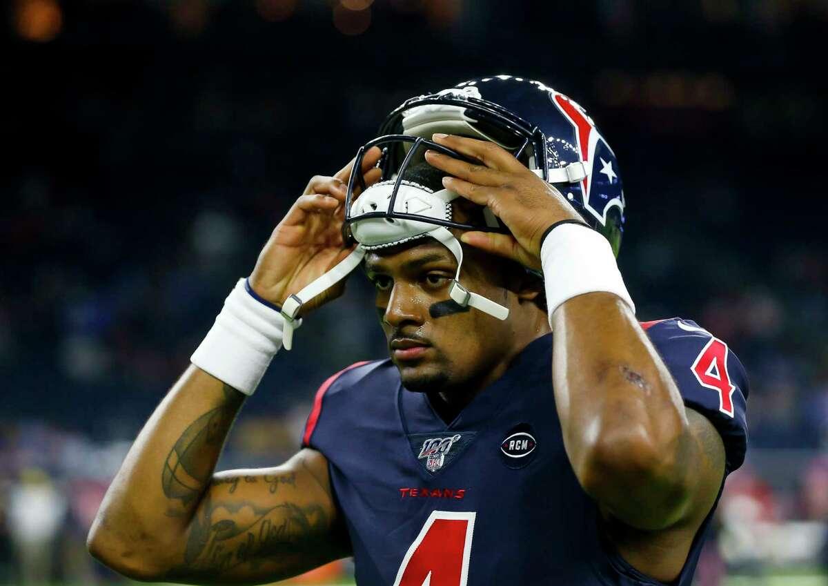 Houston Texans quarterback Deshaun Watson (4) warms up before an NFL football game at NRG Stadium on Thursday, Nov. 21, 2019, in Houston.