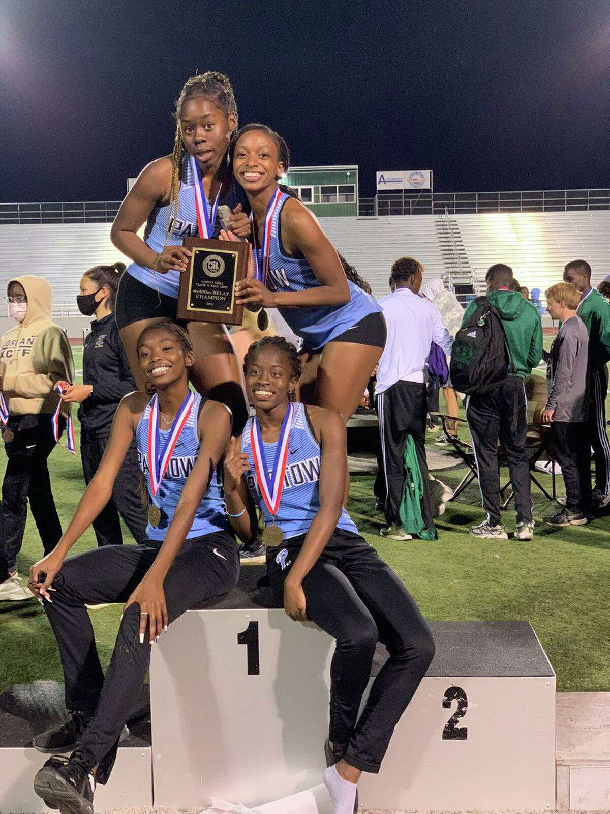 The Paetow girls 1,600-meter relay team of Missy Adeboyejo, Kameron Butler, Tumi Onaleye and Jordan Ward won the District 19-5A championship with a time of 4:13.61. Onaleye added victories in both hurdling events.