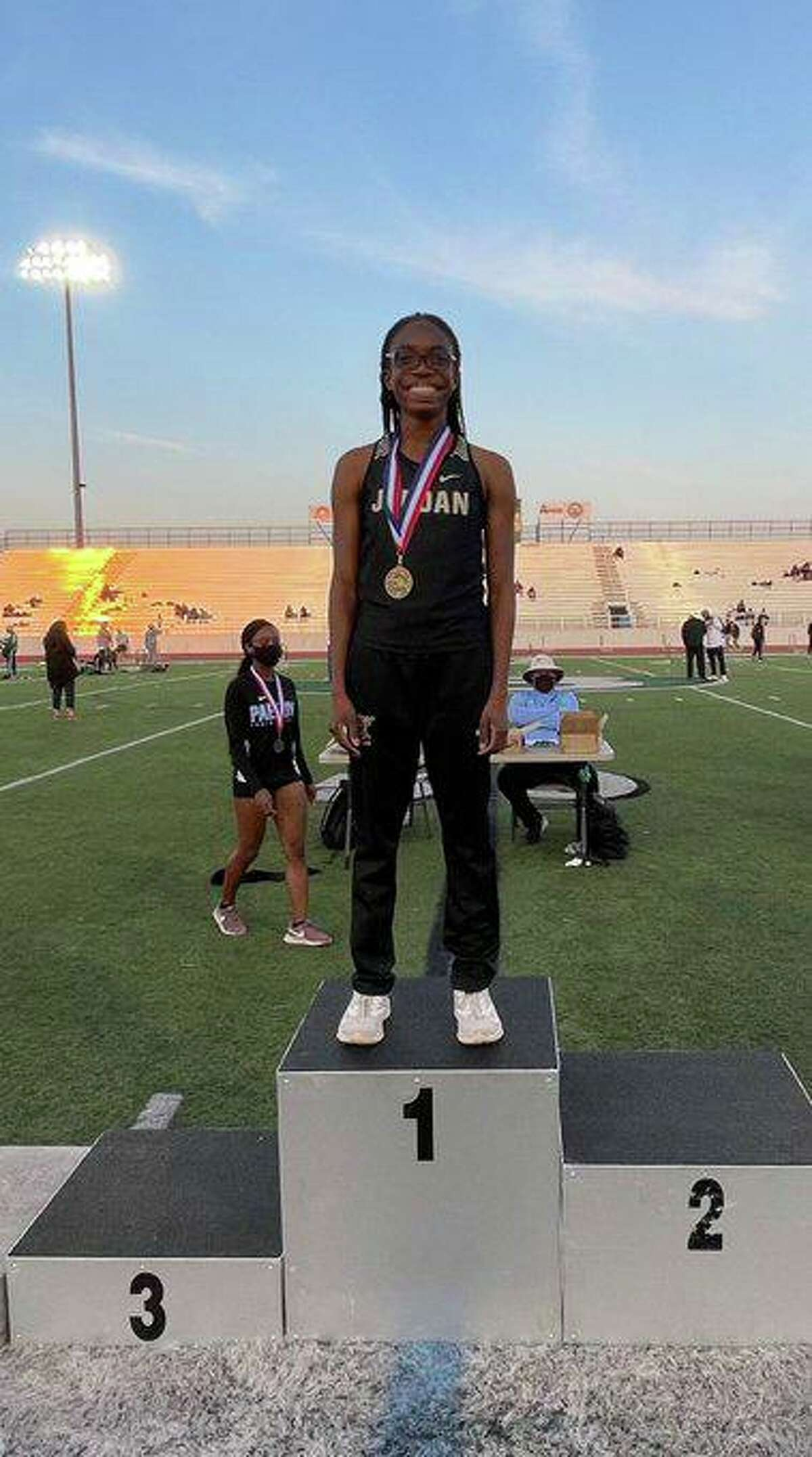 Jordan freshman Tiyan Ogbeide became the school's first district track and field champion with gold medals in the 400-meter dash (56.98) and 800-meter run (2:19.20) at the 19-5A meet.