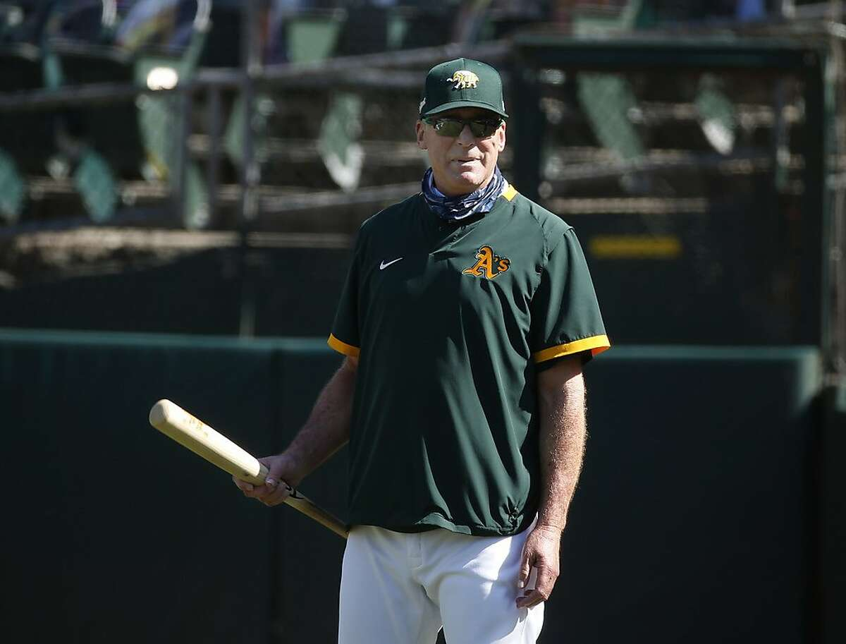 Manager Bob Melvin during the Oakland A's summer training camp at the Coliseum in Oakland, Calif. on Saturday, July 18, 2020.