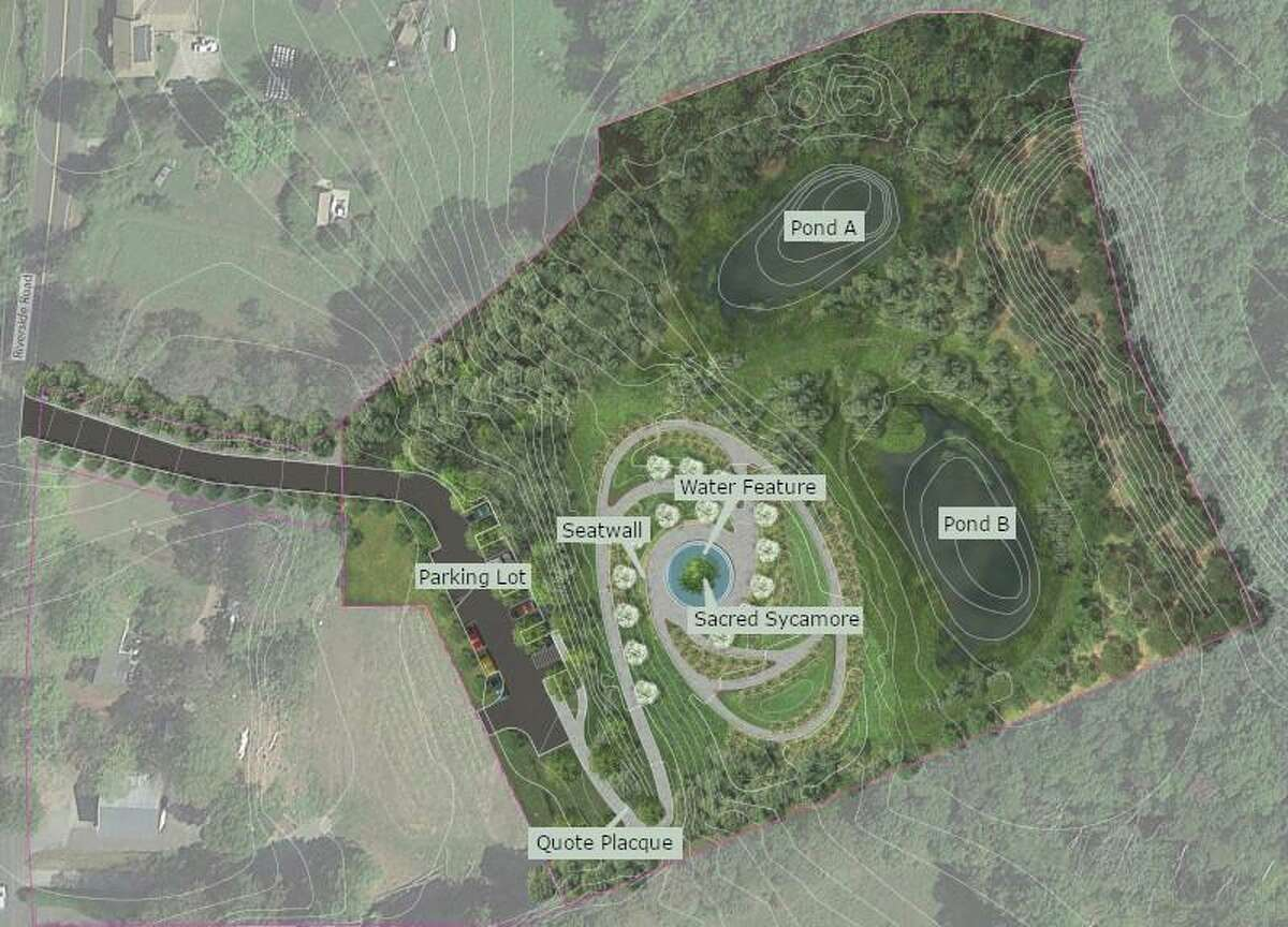 An overhead rendering of the proposed Sandy Hook memorial, which will be the subject of a final public forum on Monday.