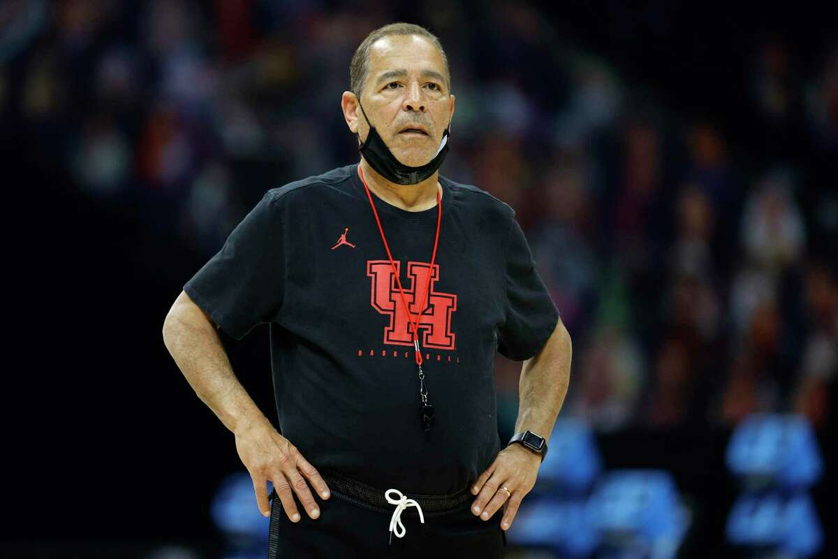 Houston coach Kelvin Sampson looks on during practice ahead of the Final Four Semfinal at Lucas Oil Stadium on Friday.